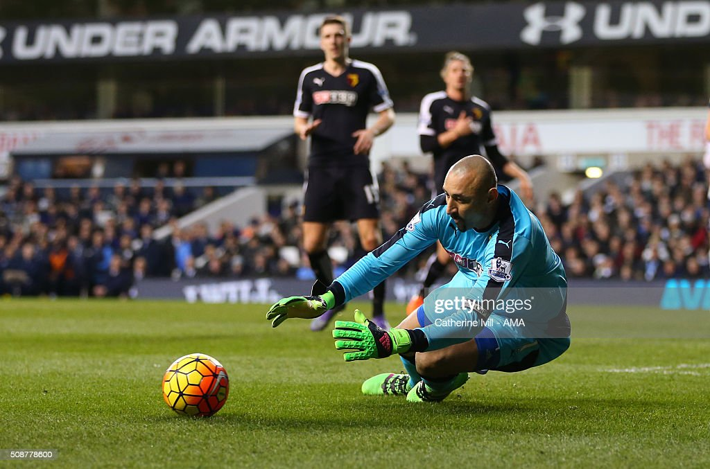 Heurelho Gomes of Watford makes a save during the Barclays Premier League match between Tottenham Hotspur and Watford at White Hart Lane on February 6, 2016 in London, England.