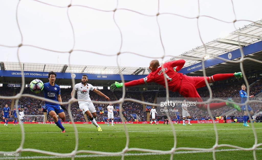 Heurelho Gomes of Watford makes a save during the Premier League match between Leicester City and Watford at The King Power Stadium on May 6, 2017 in Leicester, England.