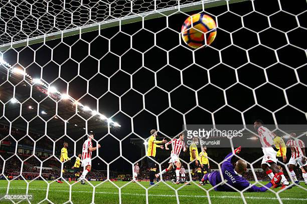 Heurelho Gomes of Watford reacts as Ryan Shawcross of Stoke City scores the opening goal during the Premier League match between Stoke City and...
