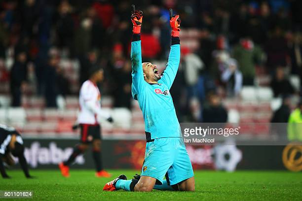 Heurelho Gomes of Watford reacts during the Barclays Premier League match between Sunderland and Watford at The Stadium of Light on December 12 2015...