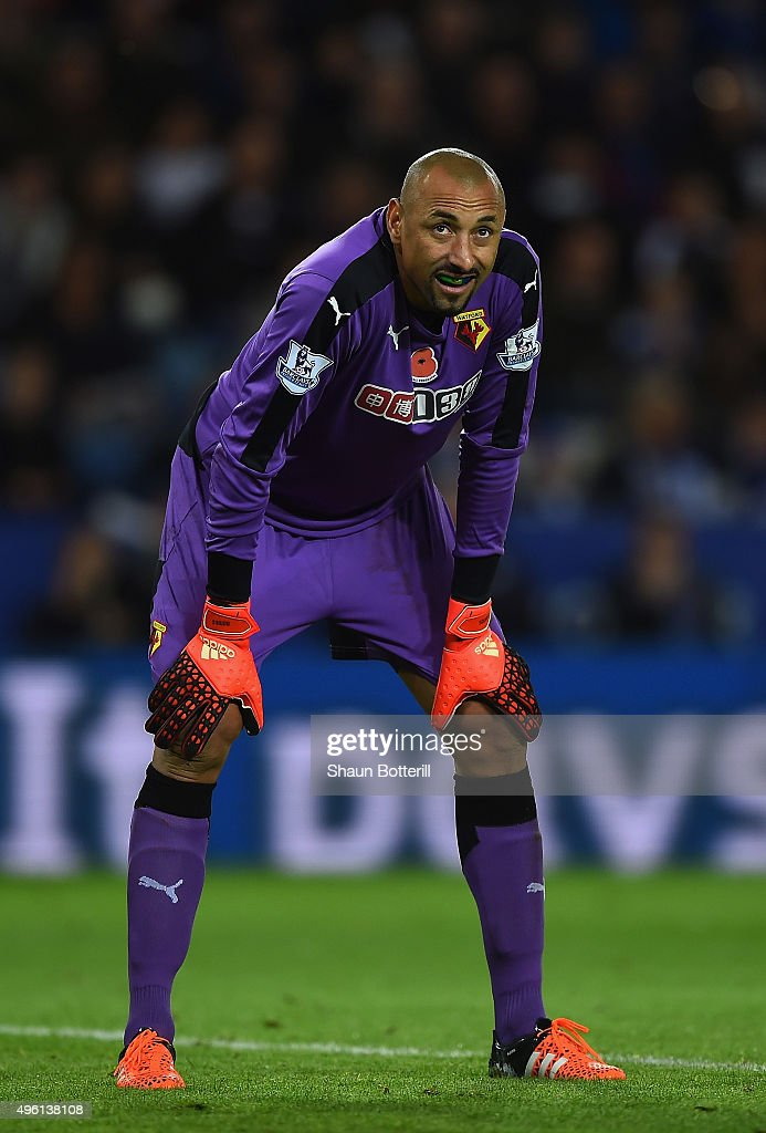 Heurelho Gomes of Watford reacts the Barclays Premier League match between Leicester City and Watford at The King Power Stadium on November 7, 2015 in Leicester, England.