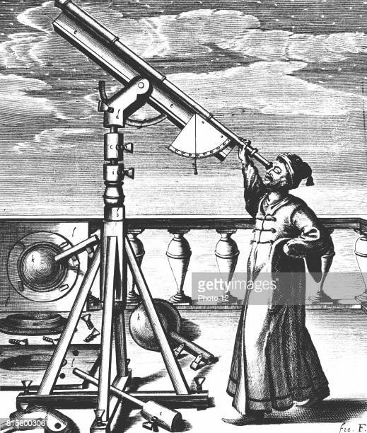 Hevelius observing through refracting telescope on stand fitted with quadrant and plumbbob so altitude of object observed could be noted From...