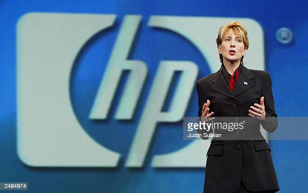 Hewlett Packard CEO Carly Fiorina delivers a keynote address at the 2003 Oracle World Conference September 11 2003 in San Francisco California...