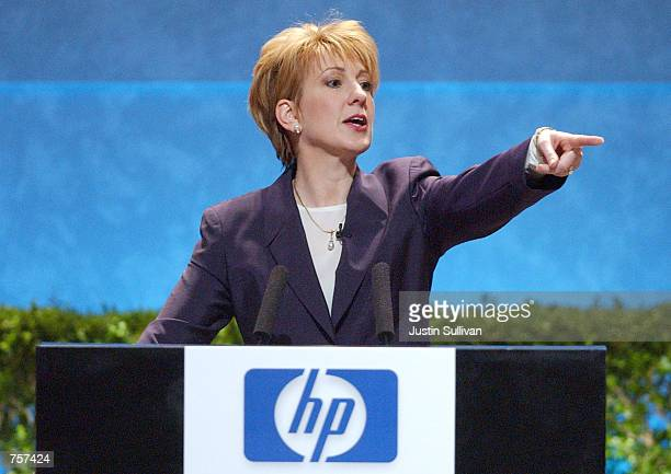 Hewlett Packard CEO Carly Fiorina speaks to the news media after a special meeting where HP shareholders voted on the proposed merger with Compaq...
