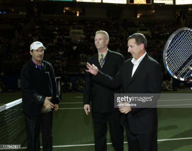 Hewlett Packard CEO Mark Hurd performs the ceremonial cointoss before the match between Andy Roddick Guillermo GaricaLopez at the 2006 SAP Open...