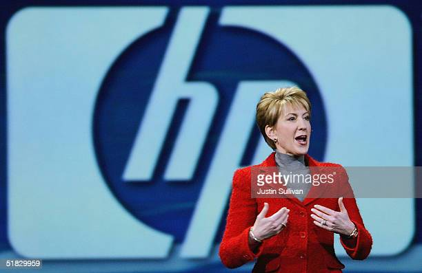 HewlettPackard CEO Carly Fiorina delivers a keynote address at the 2004 Oracle OpenWorld Conference on December 6 2004 in San Francisco The annual...