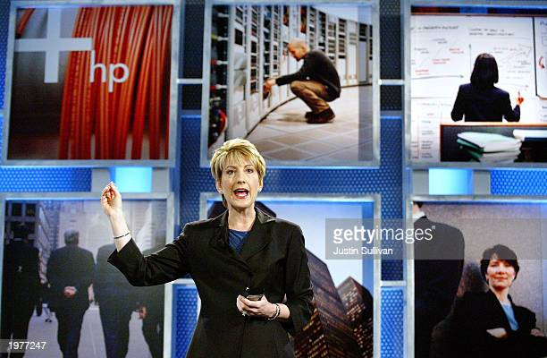 HewlettPackard CEO Carly Fiorina gestures as she speaks at the launch of the HP Adaptive Enterprise Strategy May 6 2003 in San Jose California HP...