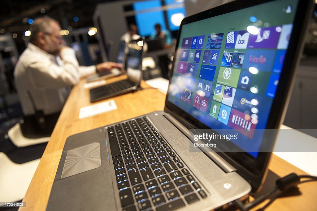 A Hewlett-Packard Co. Envy TouchSmart Ultrabook laptop computer sits on display during the HP Discover 2013 conference in Las Vegas, Nevada, U.S., on Tuesday, June 11, 2013. Hewlett-Packard Co. unveiled software that knits together technology from its data-analysis acquisitions, seeking to boost sales to corporate customers to counter slumping demand for personal computers. Photographer: Jacob Kepler/Bloomberg via Getty Images