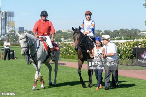 Hey Doc ridden by Luke Currie returns after winning the Australian Guineas at Flemington Racecourse on March 04 2017 in Flemington Australia