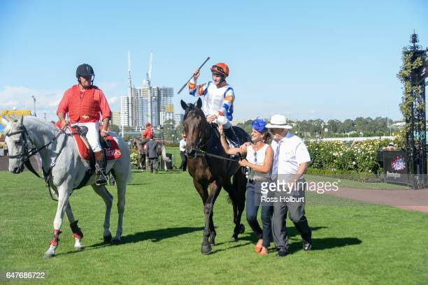 Hey Doc ridden by Luke Currie returns after winning the Australian Guineas at Flemington Racecourse on March 04 2017 in Flemington Australia