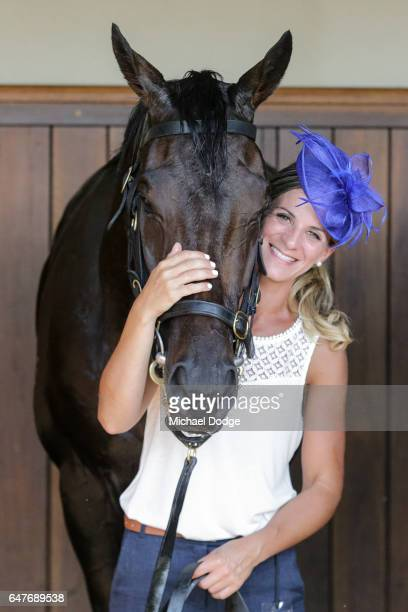 Hey Doc with strapper Camille Piantoni after winning the Australian Guineas at Flemington Racecourse on March 04 2017 in Flemington Australia