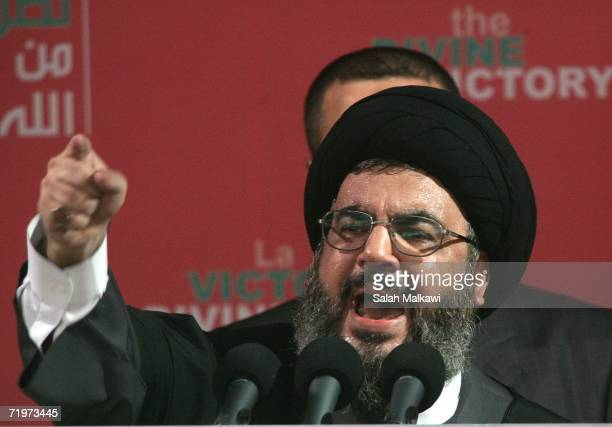 Hezbollah leader Sayyed Hassan Nasrallah speaks at a rally September 22 2006 in Beirut Lebanon Nasrallah reportedly said that Hezbollah guerrillas...
