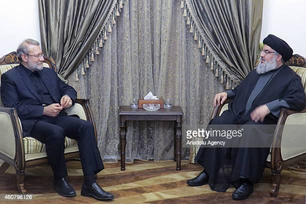Hezbollah SecretaryGeneral Hassan Nasrallah meets with speaker of Iran's parliament Ali Larijani in Beirut capital of Lebanon on December 22 2014
