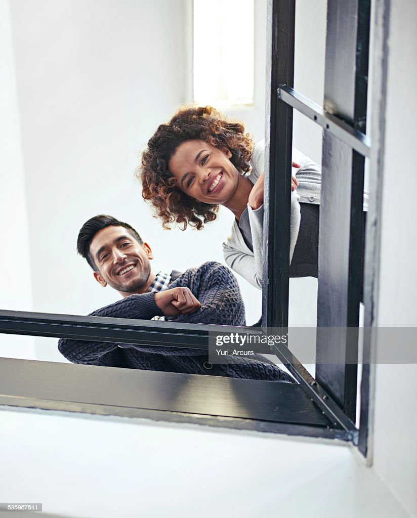 Hi from up here at the top : Stock Photo