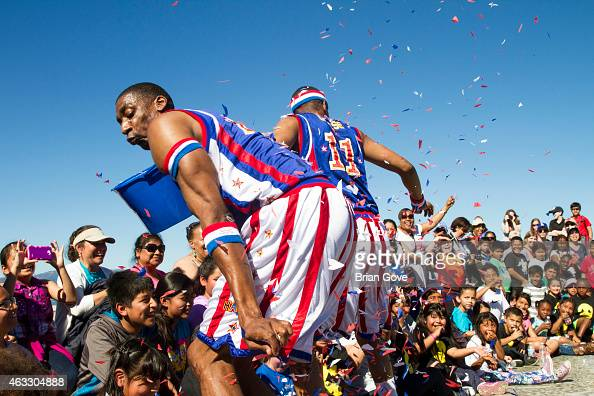 Hi Lite of the Harlem Globetrotters attends a game in Venice Beach Skate Park 'Bowl' at Venice Skate Park on February 12 2015 in Venice California