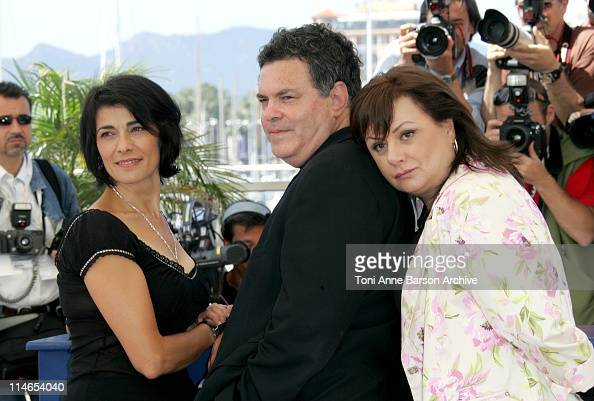 Hiam Abbas Amos Gitai Director and Hanna Laslo during 2005 Cannes Film Festival 'Free Zone' Photocall at Le Palais de Festival in Cannes France