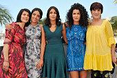 Hiam Abbas Hafsia Herzi Leila Bekhti Sabrina Ouazani and Biyouna at the photo call of 'La source des femmes The source' during the 64th Cannes...