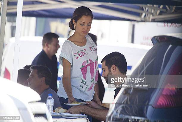 Hiba Abouk and Ruben Cortada are seen during set filming of 'El Principe' on October 30 2014 in Madrid Spain