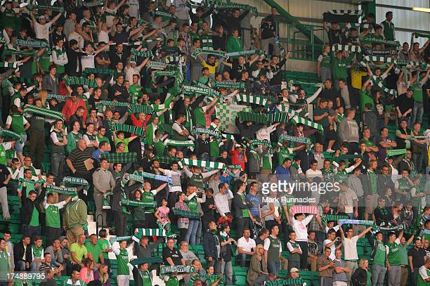 Hibernian fans show their support at Easter Road Stadium before kick off during the UEFA Europa League Second Round Second Leg Qualifying match...
