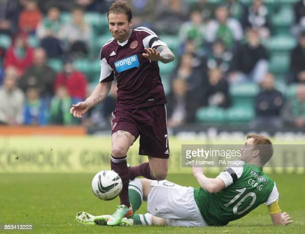 Hibernian Liam Craig Hearts Ryan Stevenson during the Scottish Premier League match at Easter Road Edinburgh