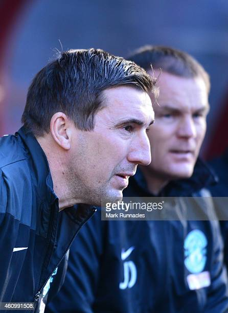 Hibernian Manager Alan Stubbs looks on during the Scottish Championship match between Heart of Midlothian FC and Hibernian FC at Tynecastle Stadium...