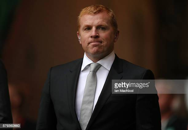 Hibernian manager Neil Lennon looks on during the Pre Season Friendly match between Celtic and Leicester City at Celtic Park Stadium on July 23 2016...