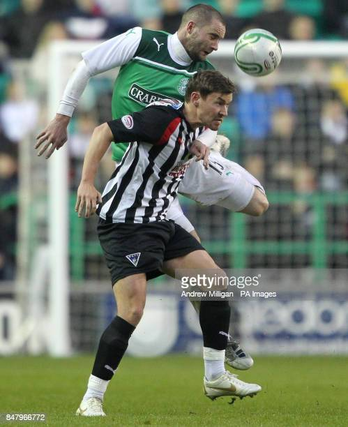 Hibernian's Jake McPake challenges Dunfermline's Andrew Barrowman during the Clydesdale Bank Scottish Premier League match at Easter Road Edinburgh