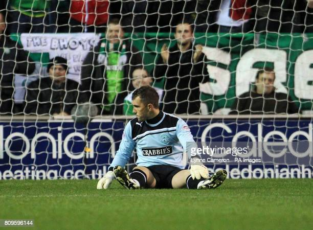 Hibernian's Mark Brown reacts after conceding his sides fourth goal during the Scottish Communities League Cup Quarter Final at Easter Road Edinburgh