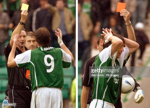 Hibernian's Paco Luna receives his second yellow card by referee Hugh Dallas followed by the red card for a Maradonastyle Hand of God during the Bank...