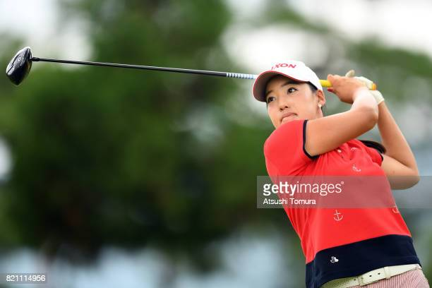 Hibiki Kitamura of Japan hits her tee shot on the 15th hole during the final round of the Century 21 Ladies Golf Tournament 2017 at the Seta Golf...