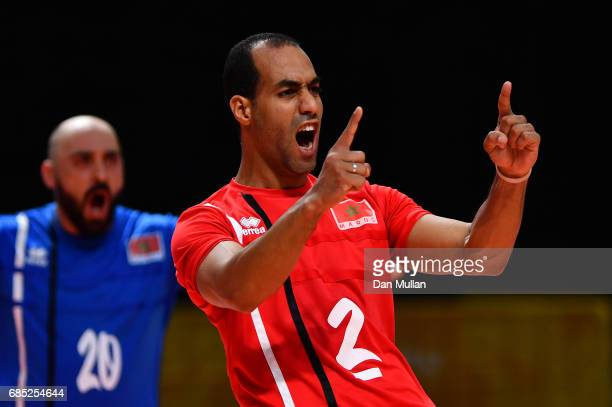 Hicham Faiazid of Morocco celebrates victory in the Mens Volleyball Group B match between Qatar and Morocco during day eight of Baku 2017 4th Islamic...