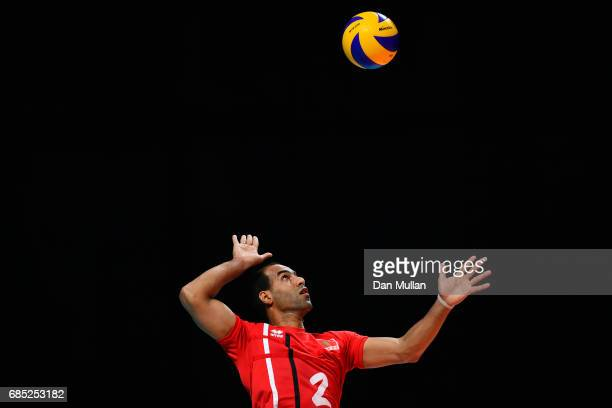 Hicham Faiazid of Morocco serves in the Mens Volleyball Group B match between Qatar and Morocco during day eight of Baku 2017 4th Islamic Solidarity...