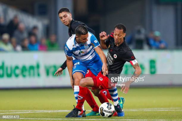 Hicham Faik of Excelsior Ouasim Bouy of PEC Zwolle Ryan Koolwijk of Excelsiorduring the Dutch Eredivisie match between PEC Zwolle and bv Excelsior...