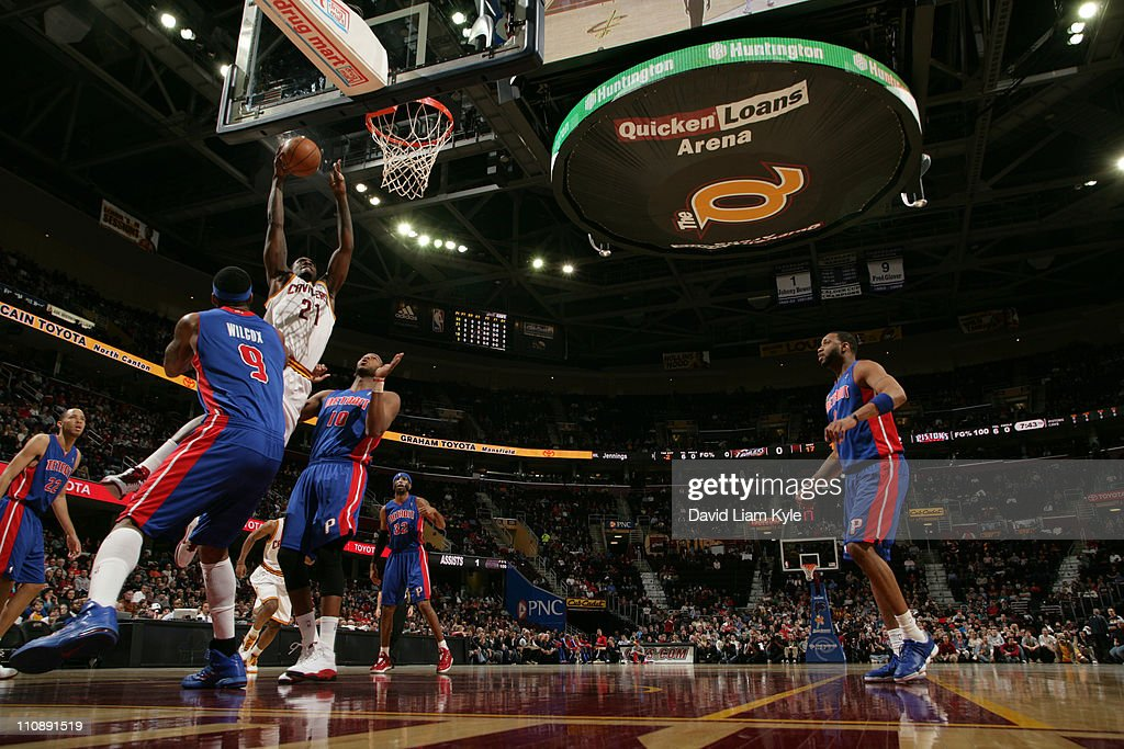 J.J. Hickson #21 of the Cleveland Cavaliers dunks against the Detroit Pistons during the game at The Quicken Loans Arena on March 25, 2011 in Cleveland, Ohio.