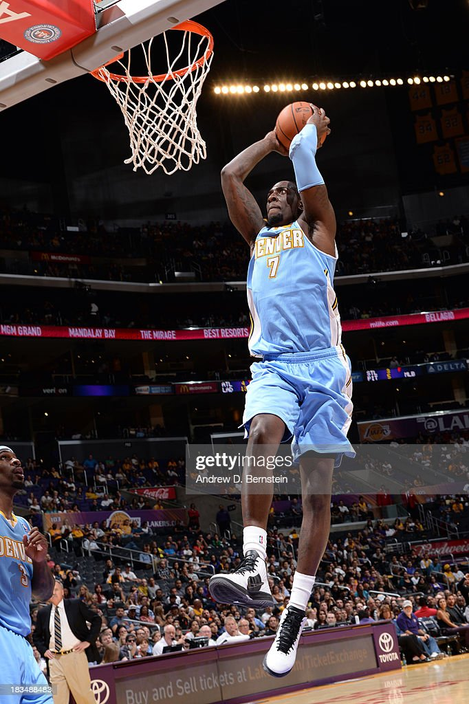JJ Hickson #7 of the Denver Nuggets dunks during a game against the Los Angeles Lakers at STAPLES Center on October 10, 2013 at in Los Angeles, California.
