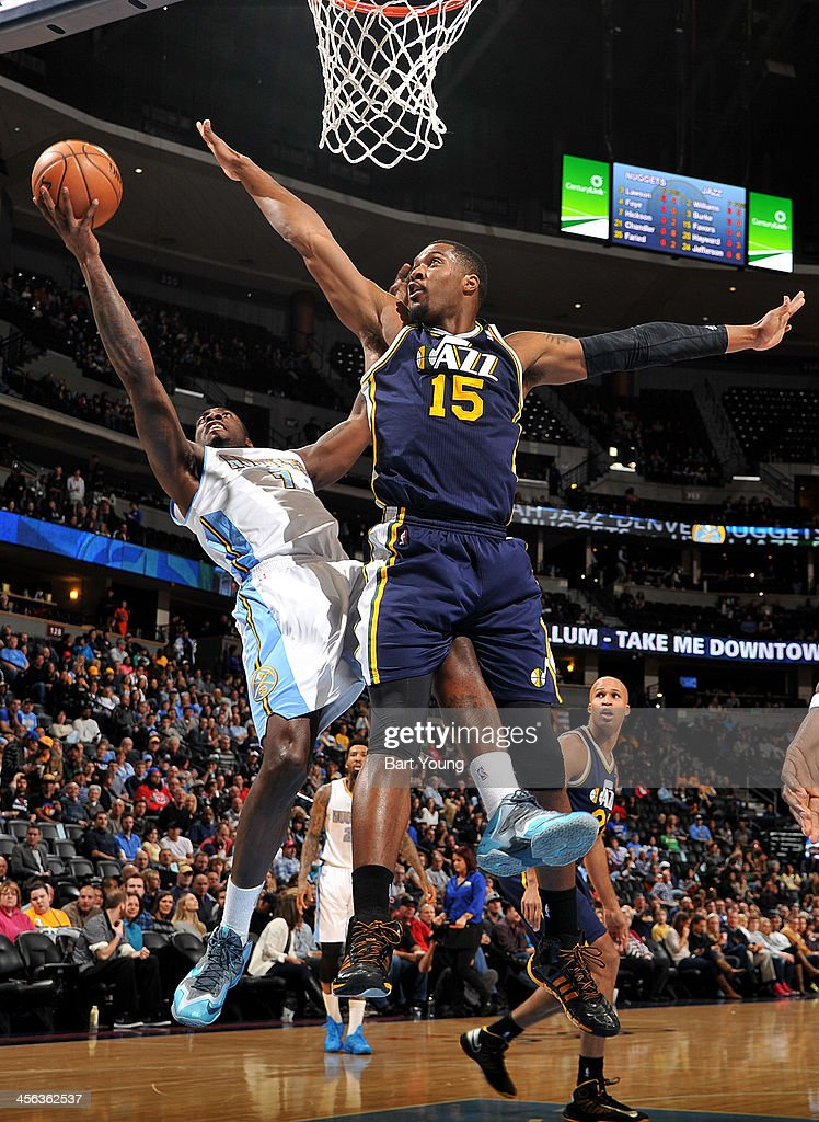 JJ Hickson #7 of the Denver Nuggets goes up for the awkard shot against the Utah Jazz on December 13, 2013 at the Pepsi Center in Denver, Colorado.