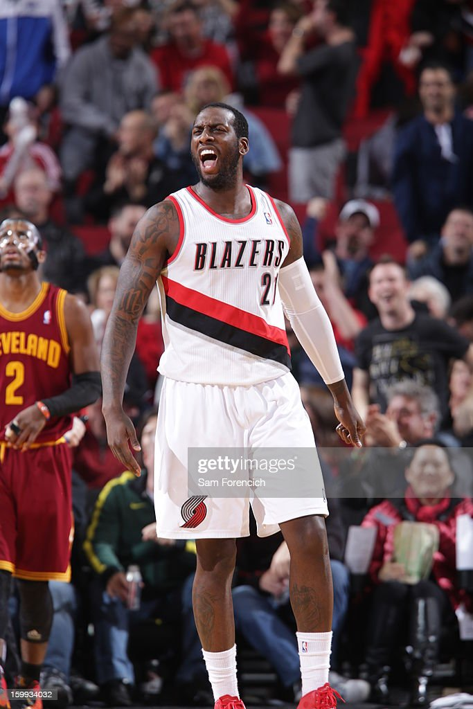 J.J. Hickson #21 of the Portland Trail Blazers celebrates a shot against the Cleveland Cavaliers on January 16, 2013 at the Rose Garden Arena in Portland, Oregon.