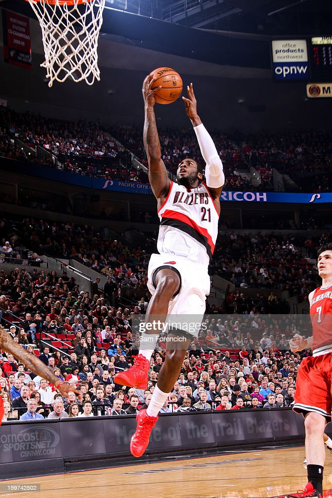 J.J. Hickson #21 of the Portland Trail Blazers drives to the basket against the Milwaukee Bucks on January 19, 2013 at the Rose Garden Arena in Portland, Oregon.