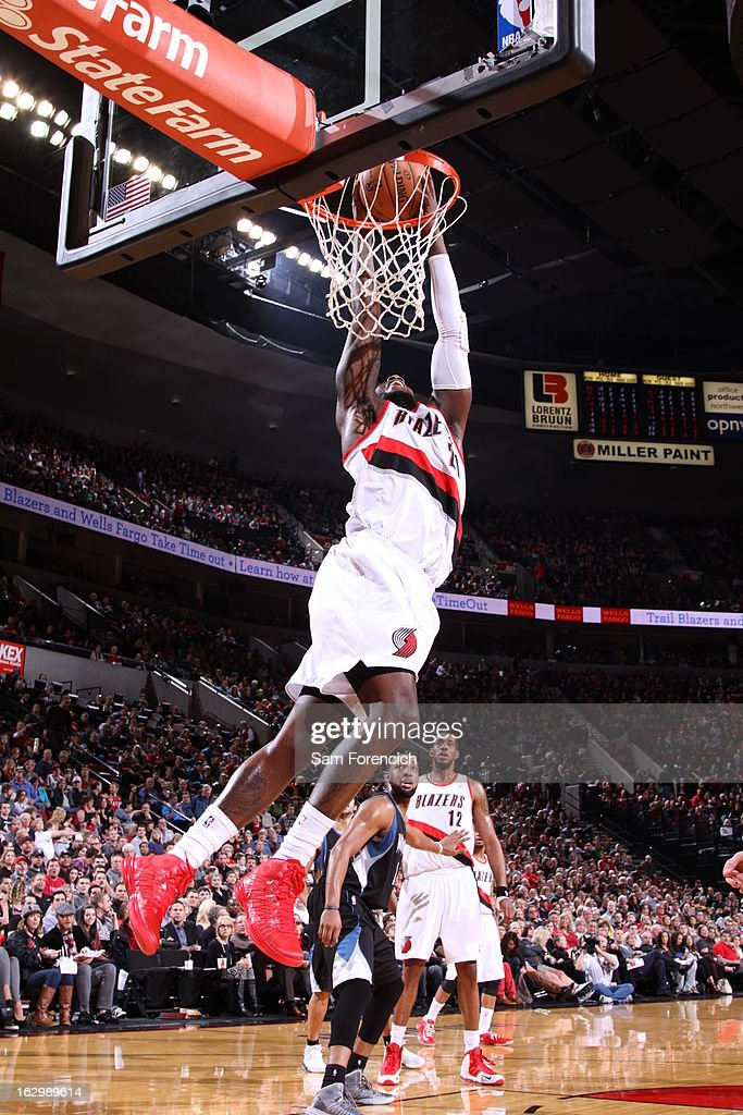 J.J. Hickson #21 of the Portland Trail Blazers dunks against the Minnesota Timberwolves on March 2, 2013 at the Rose Garden Arena in Portland, Oregon.