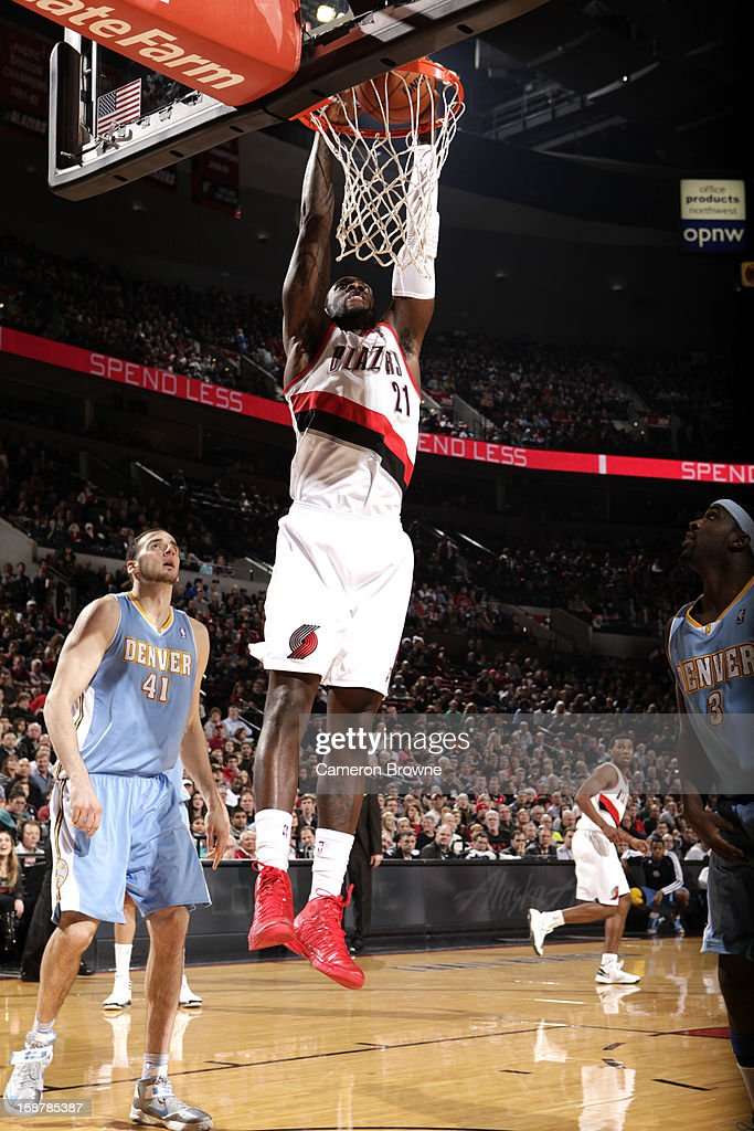 J.J. Hickson #21 of the Portland Trail Blazers dunks the ball against the Denver Nuggets on December 20, 2012 at the Rose Garden Arena in Portland, Oregon.