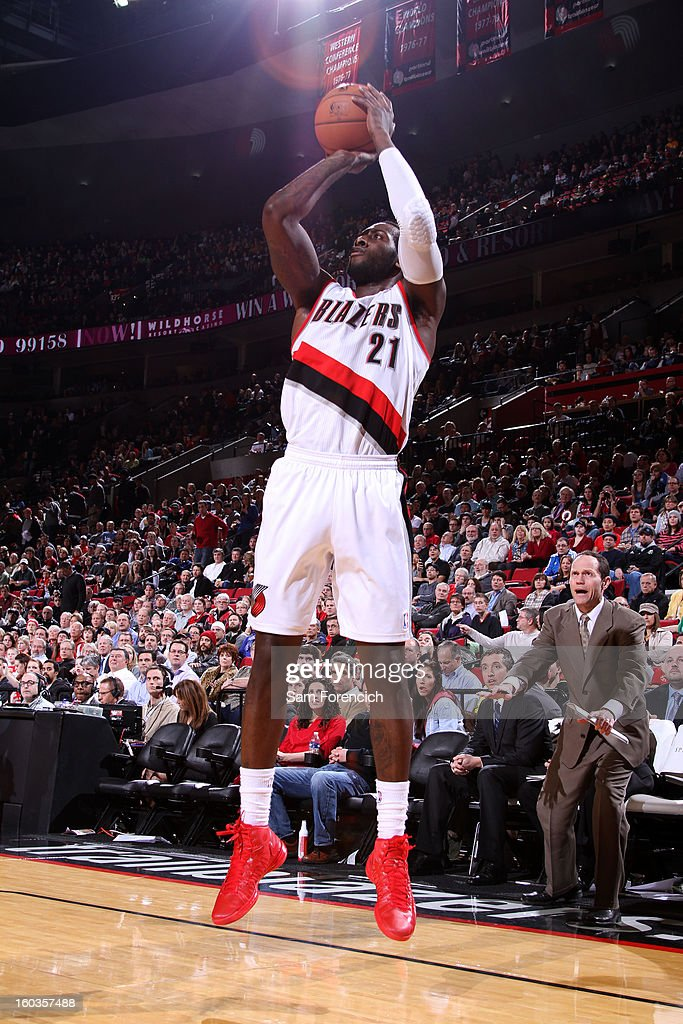 J.J. Hickson #21 of the Portland Trail Blazers goes for a jump shot during the game between the Dallas Mavericks and the Portland Trail Blazers on January 29, 2013 at the Rose Garden Arena in Portland, Oregon.