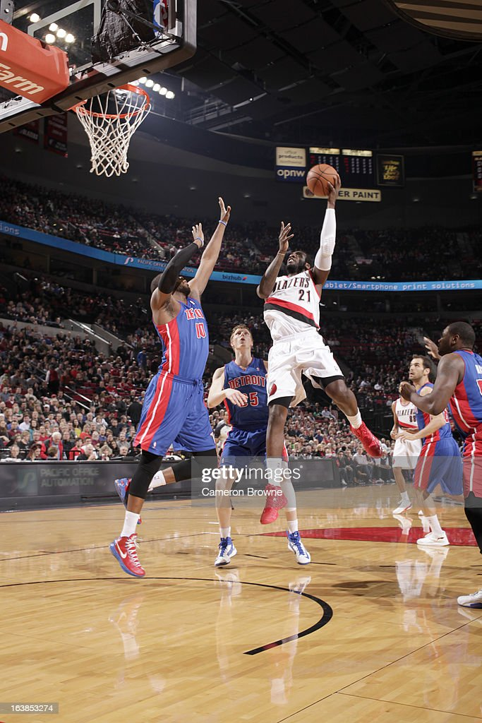 J.J. Hickson #21 of the Portland Trail Blazers goes to the basket during the game between the Detroit Pistons and the Portland Trail Blazers on March 16, 2013 at the Rose Garden Arena in Portland, Oregon.