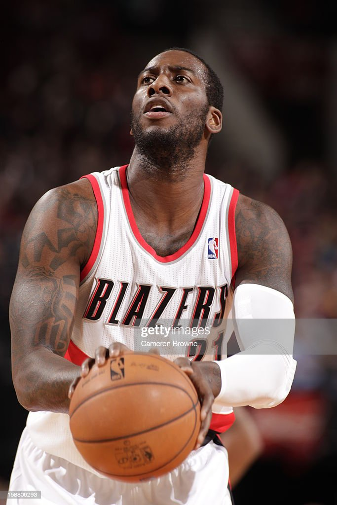 J.J. Hickson #21 of the Portland Trail Blazers prepares for a free throw during the game between the Philadelphia 76ers and the Portland Trail Blazers on December 29, 2012 at the Rose Garden Arena in Portland, Oregon.