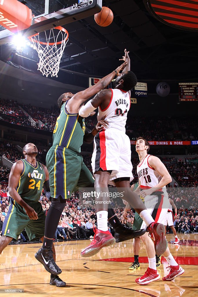 J.J. Hickson #21 of the Portland Trail Blazers sends the ball to the basket during the game between the Utah Jazz and the Portland Trail Blazers on February 2, 2013 at the Rose Garden Arena in Portland, Oregon.