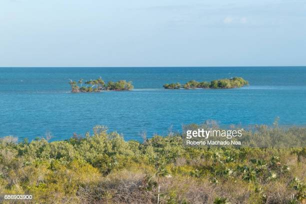 Hidden beauty of Cuba awesome green and blue colors in the coast of 'White Key' or 'Cayo Blanco' The inhabited cay is located close to Tunas de Zaza...