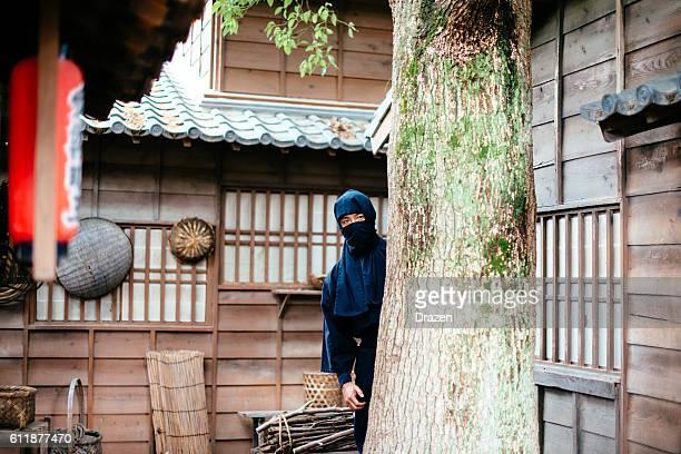 Hidden ninja revenger in Japanese village