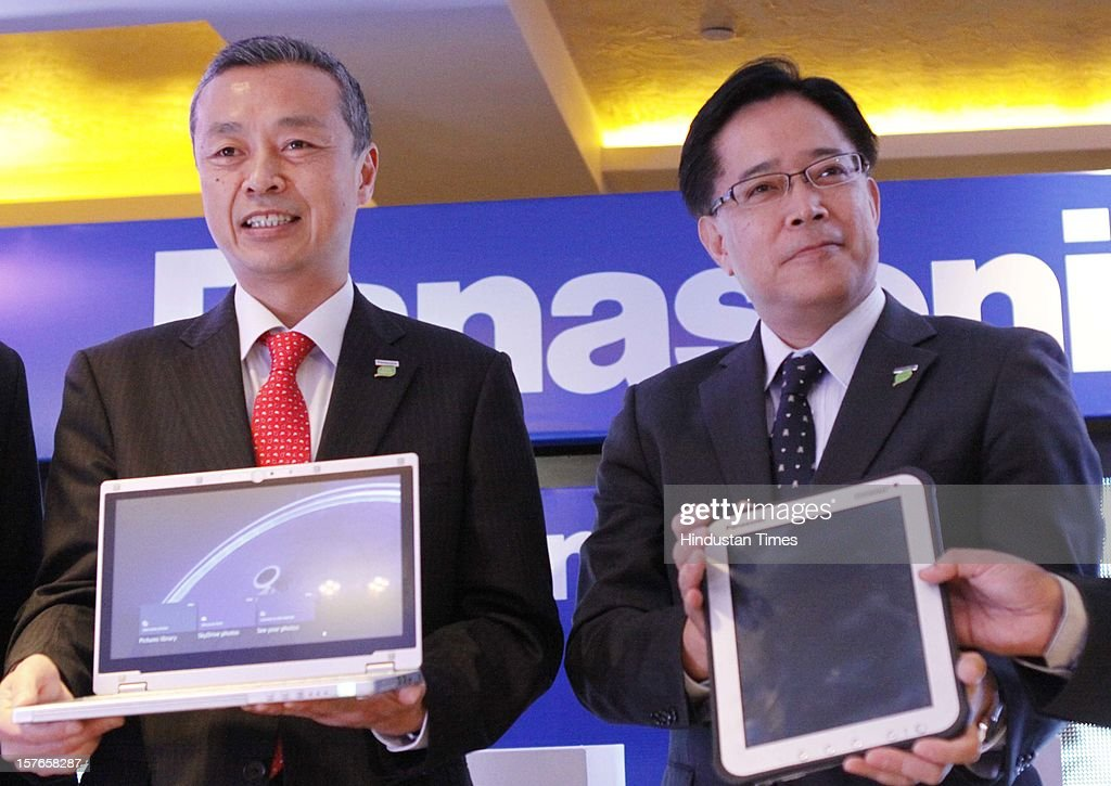 Hide Harada director of products Business Unit (R) and Toru Hasegawa Managing Director-System Sales Division Panasonic india (L) during a Launched of world's first ruggedized tablet Toughpad FZ-A1 and Panasonic CF-AX2 on December 5, 2012 in New Delhi, India.