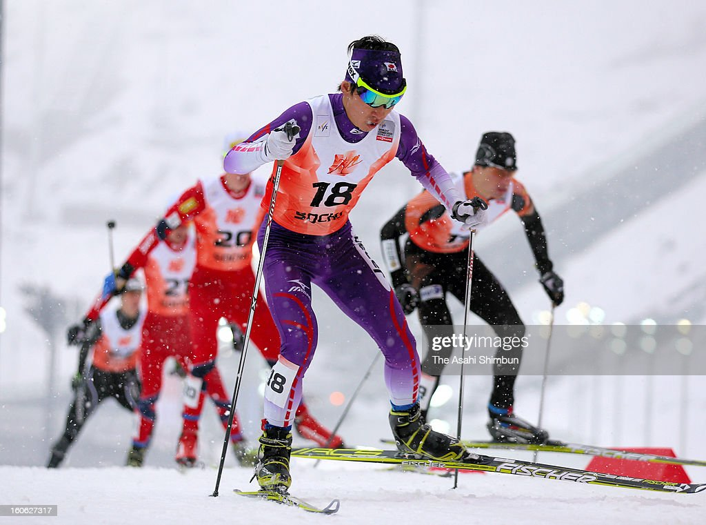 Hideaki Nagai #18 of Japan competes in the 10km Cross-Country at FIS Nordic Combined World Cup Sochi on February 2, 2013 in Sochi, Russia.