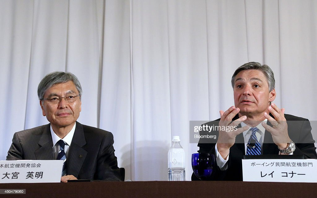 <a gi-track='captionPersonalityLinkClicked' href=/galleries/search?phrase=Hideaki+Omiya&family=editorial&specificpeople=5398116 ng-click='$event.stopPropagation()'>Hideaki Omiya</a>, chairman of Mitsubishi Heavy Industries Ltd. and chairman of the Japan Aircraft Development Corp., left, listens as <a gi-track='captionPersonalityLinkClicked' href=/galleries/search?phrase=Ray+Conner&family=editorial&specificpeople=7660065 ng-click='$event.stopPropagation()'>Ray Conner</a>, president and chief executive officer of Boeing Commercial Airplanes, speaks during a news conference in Tokyo, Japan, on Thursday, June 12, 2014. Boeing Co. retained the work of Mitsubishi Heavy Industries and Kawasaki Heavy Industries Ltd. and said five Japanese companies will build 21 percent of its latest widebody jet 777X. Photographer: Tomohiro Ohsumi/Bloomberg via Getty Images