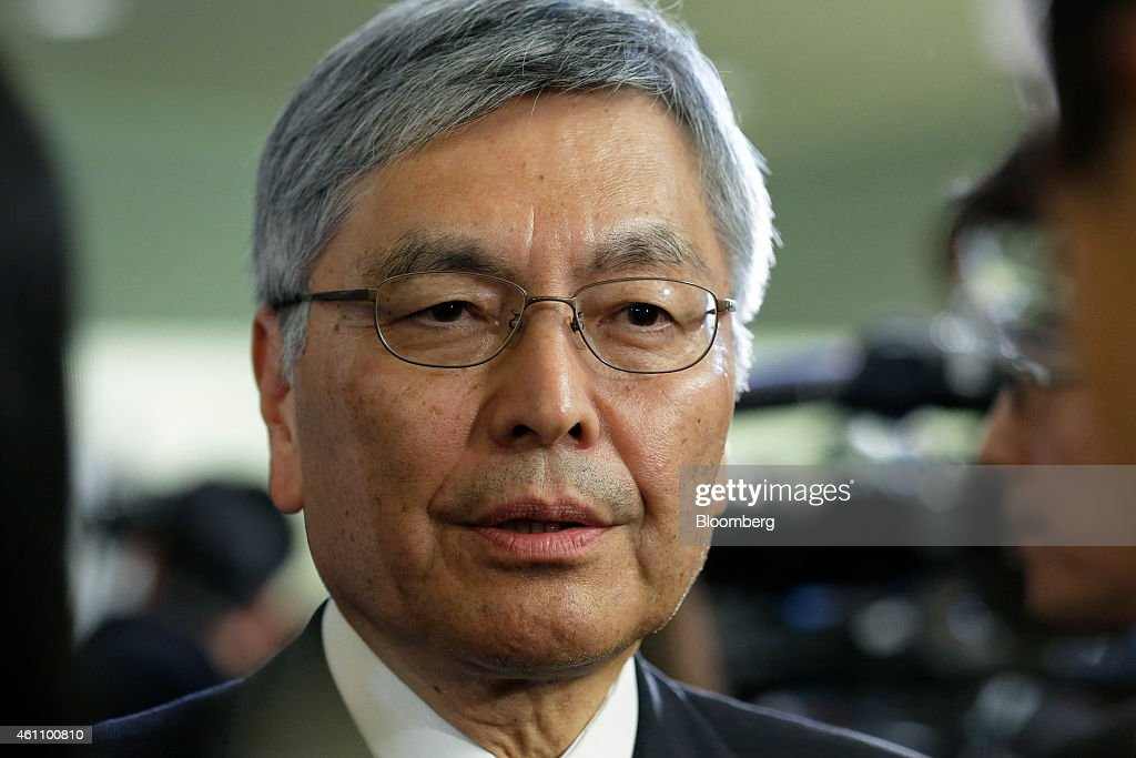 <a gi-track='captionPersonalityLinkClicked' href=/galleries/search?phrase=Hideaki+Omiya&family=editorial&specificpeople=5398116 ng-click='$event.stopPropagation()'>Hideaki Omiya</a>, chairman of Mitsubishi Heavy Industries Ltd., speaks to the media after attending a new year's gathering for business leaders in Tokyo, Japan, on Tuesday, Jan. 6, 2015. Japan's Topix index fell by the most in three months as a deepening bear market in oil and renewed concern over European stability sparked the largest global equity sell-off since June 2013. Photographer: Kiyoshi Ota/Bloomberg via Getty Images